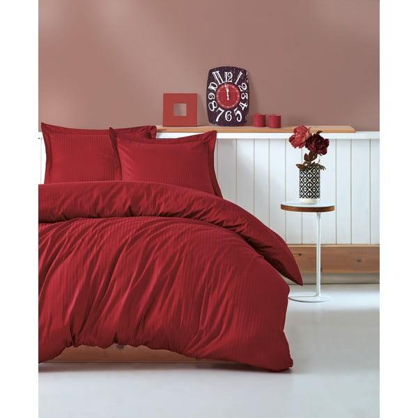 Červené povlečení s prostěradlem na dvoulůžko Stripe, 200 x 220 cm