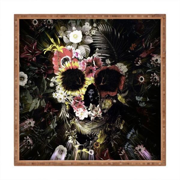Tavă decorativă din lemn Flowery Skull, 40x40cm