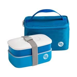 Set modrého svačinového boxu a tašky Premier Housewares Grub Tub, 21 x 13 cm