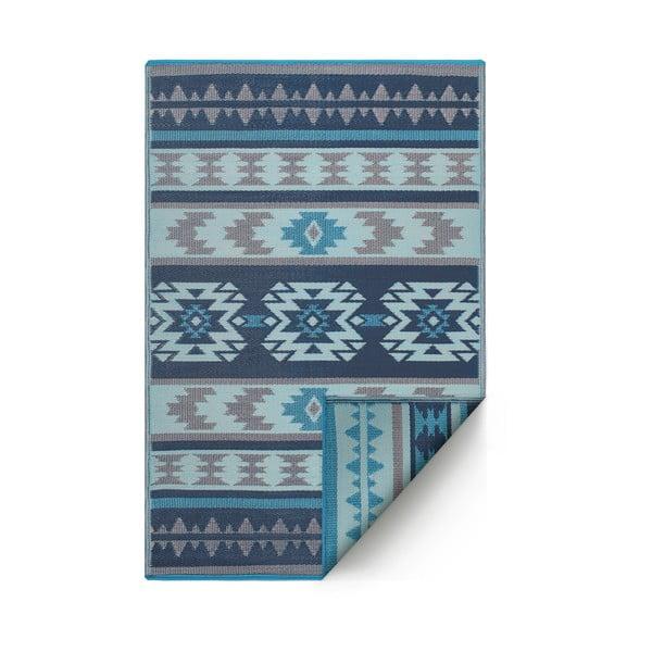 Niebieski dwustronny dywan na zewnątrz z tworzywa sztucznego z recyklingu Fab Hab Cusco Blue, 90x150 cm