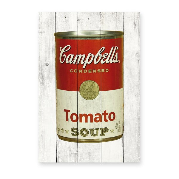 Tablou de perete din lemn de pin Really Nice Things Tomato Soup, 40 x 60 cm