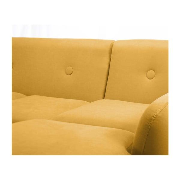 Tmavě žlutá trojmístná pohovka Scandi by Stella Cadente Maison, pravý roh