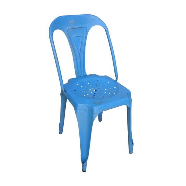 Kovová retro židle Sofian, modrá