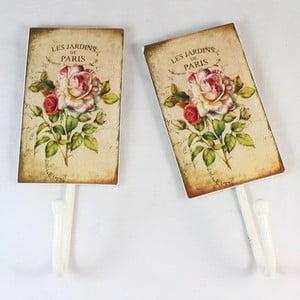 Sada 2 nástěnných kovových věšáků Roses