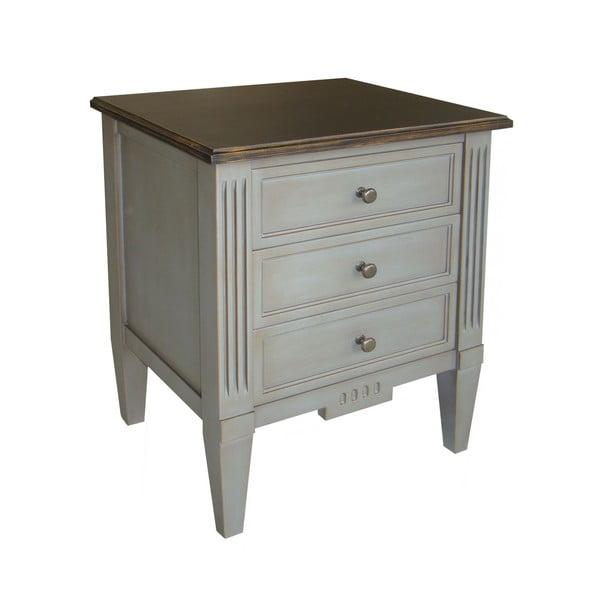 Noční stolek se 3 zásuvkami Transilvania Black Top Belgique Grey