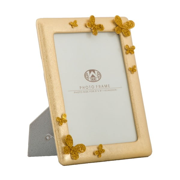Fotorámeček ve zlaté barvě s motýlky MauroFerretti, 19,5x24,5cm