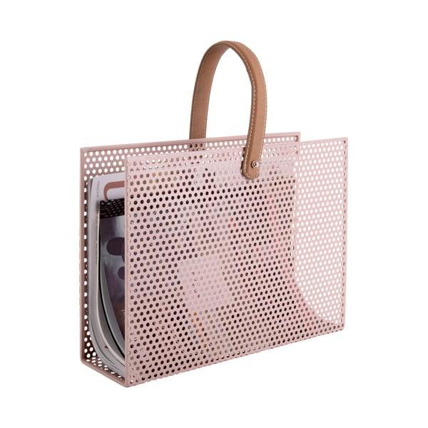 Světle růžový kovový držák na časopisy PT LIVING Perky