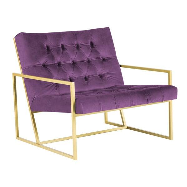 Fialové křeslo s konstrukcí ve zlaté barvě Mazzini Sofas Bono
