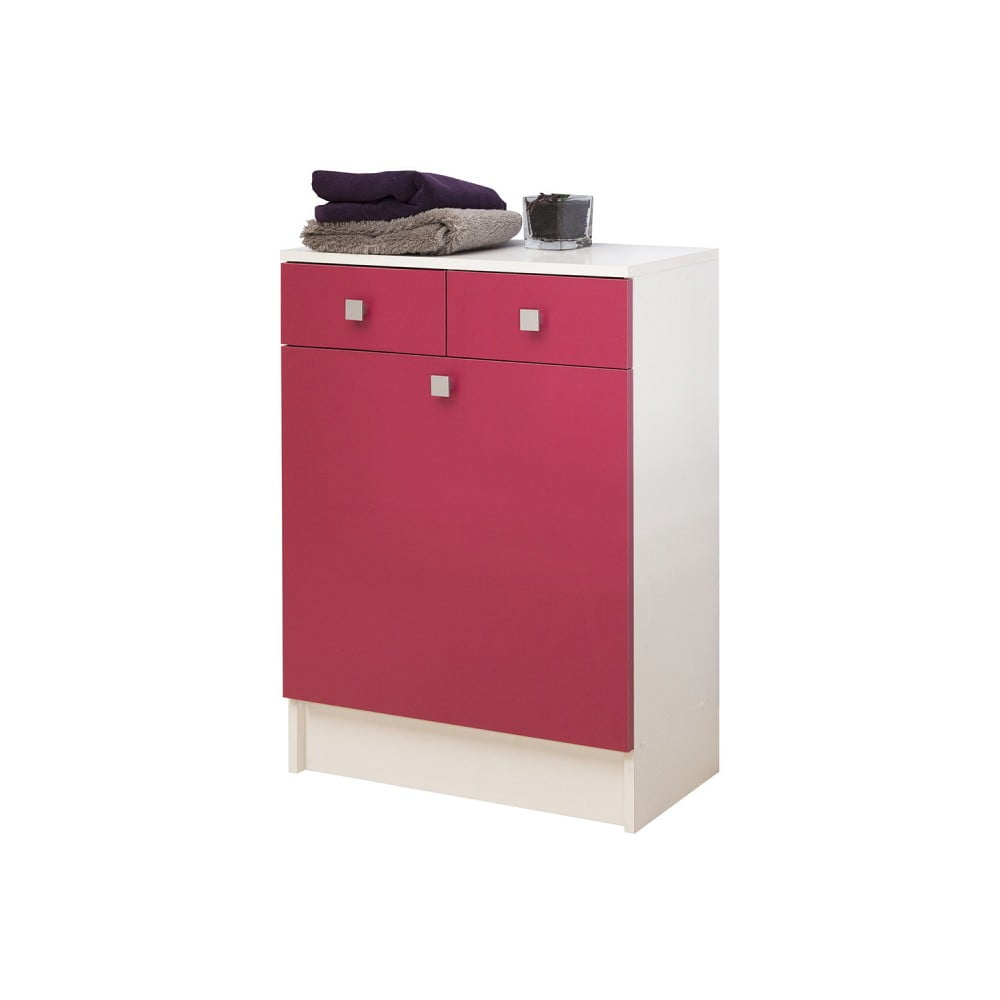 Růžová koupelnová skříňka na prádelní koš Symbiosis André, šířka 60 cm
