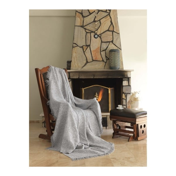 Sivá bavlnená deka Mismo Linen, 170×220cm
