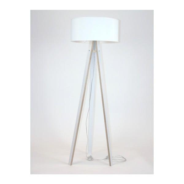 Wanda fehér állólámpa, fehér búrával és átlátszó kábellel - Ragaba