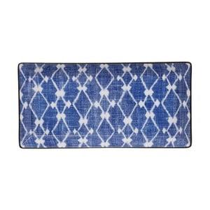Modro-bílý obdélníkový talíř Tokyo Design Studio Shibori, 23x11cm