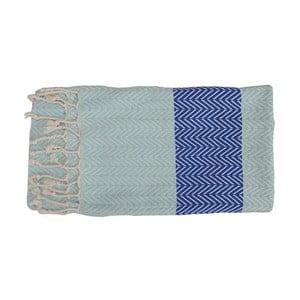 Prosop țesut manual din bumbac premium  Damla, 100 x 80 cm, albastru deschis