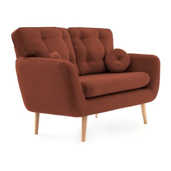 Ciemnoczerwona sofa 2-osobowa z poduszką VIVONITA Malva