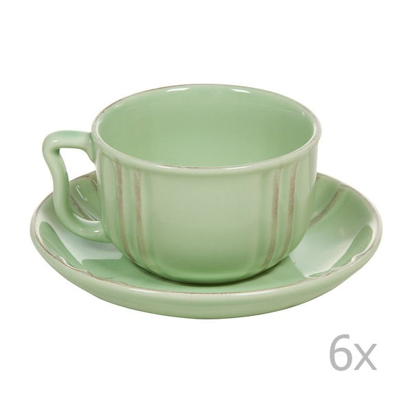 Set 6 cești cu farfurie din ceramică Santiago Pons Ribbing, verde