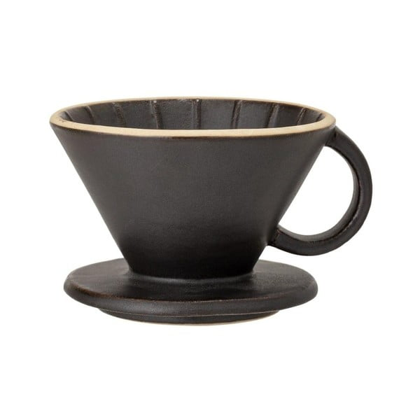 Czarna kamionkowa filiżanka do przyrządzania filtrowanej kawy Bloomingville Leah, ø 11 cm