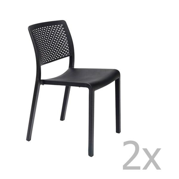 Sada 2 černých zahradních židlí Resol Trama Simple
