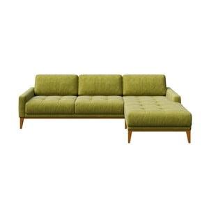 Zelená pohovka s lenoškou na pravé straně MESONICA Musso Tufted