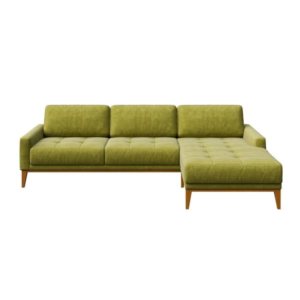 Zelená pohovka s leňoškou na pravej strane MESONICA Musso Tufted