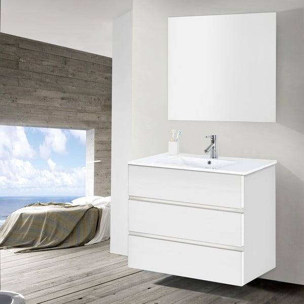 Koupelnová skříňka s umyvadlem a zrcadlem Nayade, odstín bílé, 90 cm