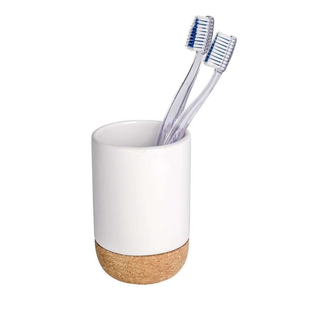 Bílý kelímek na zubní kartáčky Wenko Corc