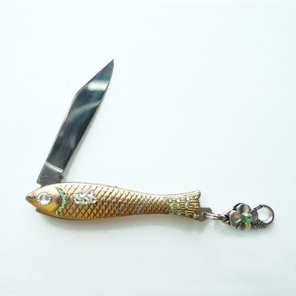 Český nožík rybička, zlatý se zelenými krystaly