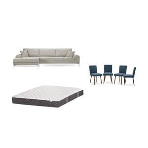 Set krémové pohovky s lenoškou vlevo, 4modrých židlí a matrace 160 x 200 cm Home Essentials