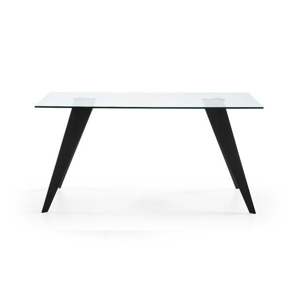 Skleněný stůl s černými nohami La Forma Nack, 160 x 90 cm