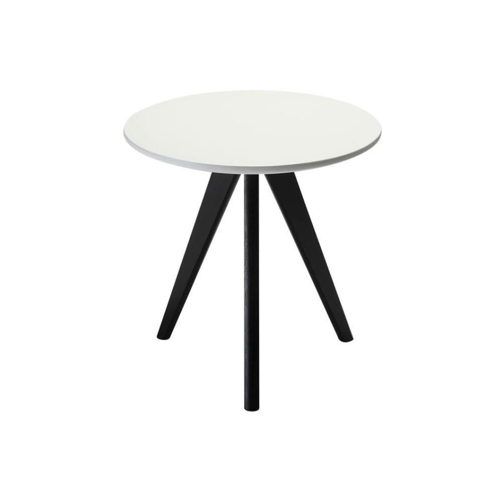 Produktové foto Černobílý dřevěný příruční stolek Furnhouse Life, Ø40cm