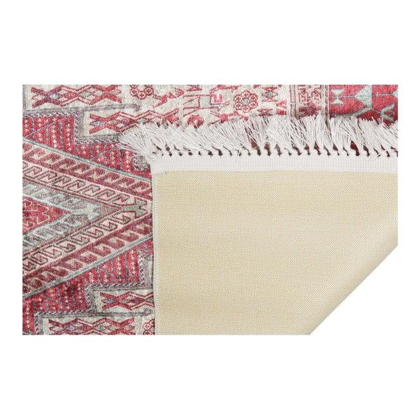 Sametový koberec Deri Dijital Maluna Red, 80x150cm