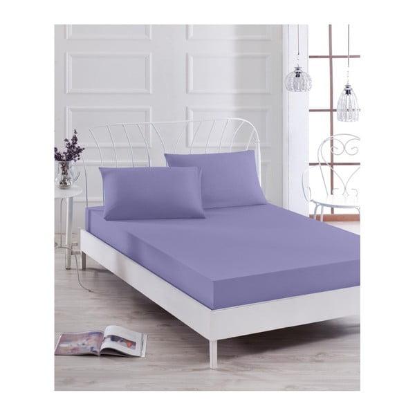 Komplet fioletowego elastycznego prześcieradła i poszewki na poduszkę Basso Purple, 100x200 cm
