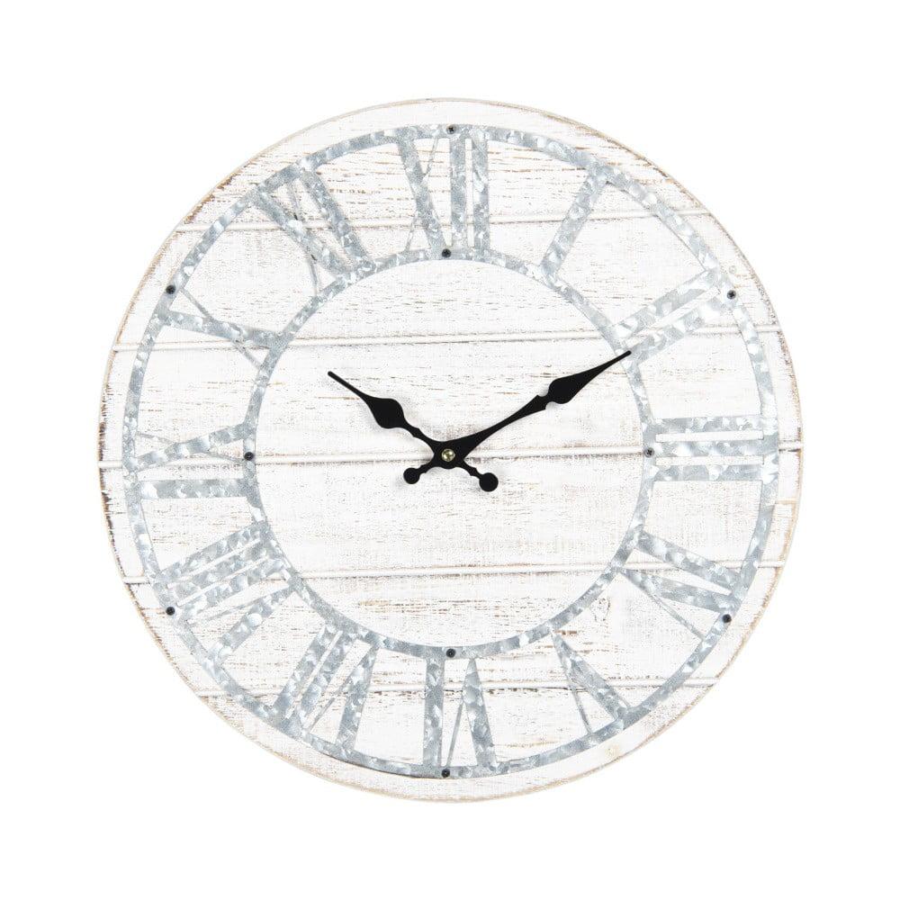 Bílé nástěnné hodiny s modrými detaily Clayre&Eef, ⌀40cm