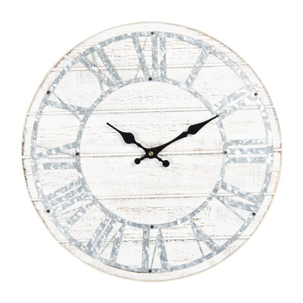 Biały zegar ścienny z niebieskimi detalami Clayre & Eef, ⌀ 40 cm