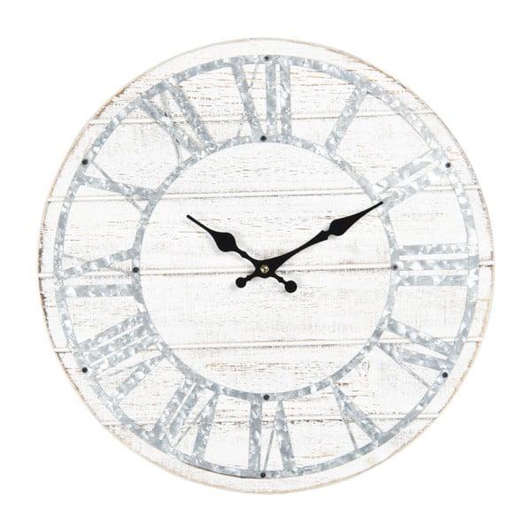 Ceas de perete cu detalii albastre Clayre & Eef, ⌀ 40 cm, alb