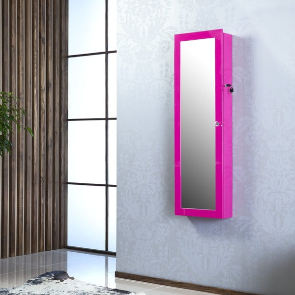 Uzamykatelné závěsné zrcadlo se šperkovnicí Angelita, fialové