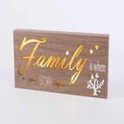 Obraz se svítícím nápisem Family, 34x15 cm