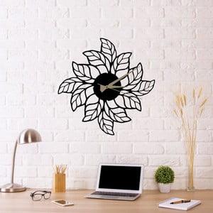 Černé nástěnné hodiny Glozis Leaves Clock, ⌀ 48 cm