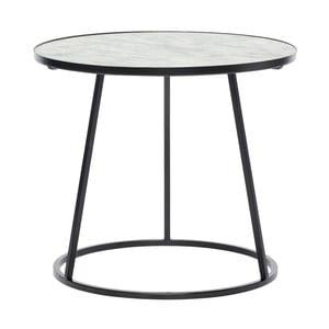 Černý odkládací stolek se bílou mramorovou deskou Hübsch Dana