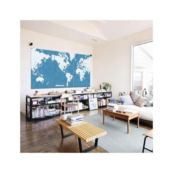 Hartă a lumii de perete Palomar Pin World XL, 198 x 124 cm, albastru