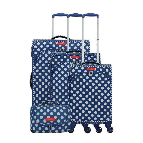 Set 3 modrých zavazadel na 4 kolečkách a kosmetického kufříku Lollipops