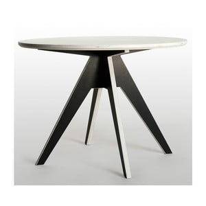 Jídelní stůl s černým podnožím a bílou deskou Radis Edi, průměr105cm