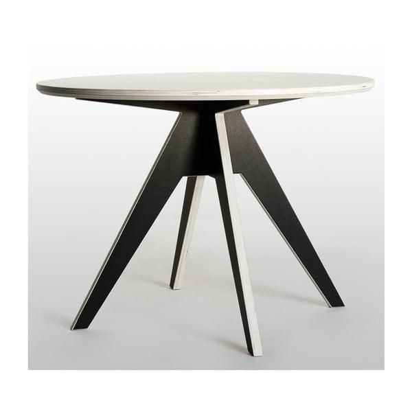 Masă dining cu bază neagră Radis Edi, diametru 105 cm, blat alb