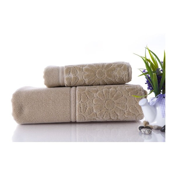 Sada 2 ručníků Samba Beige, 70x140 cm a 50x90 cm