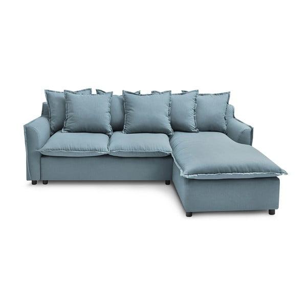 Bladoniebieska sofa rozkładana Bobochic Paris Mona, prawostronna