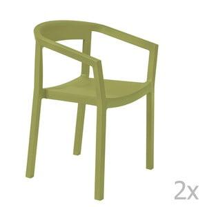 Sada 2 zelených zahradních židlí s područkami Resol Peach