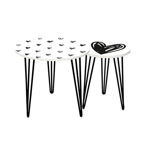 Sada 2 odkládacích stolků Simple Love, 35 cm + 49 cm