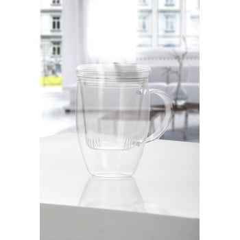 Cană pentru ceai din sticlă cu capac Bambum Denisse, 400 ml