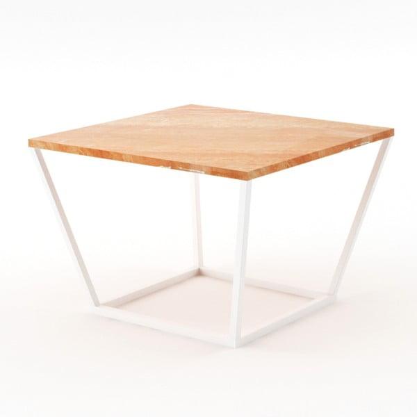 Malý béžový konferenční stůl z mramoru s bílým podnožím Absynth Noi Spain