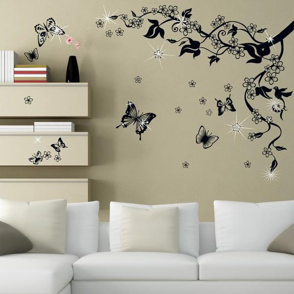 Samolepka na stěnu Motýlci se Swarovski kamínky