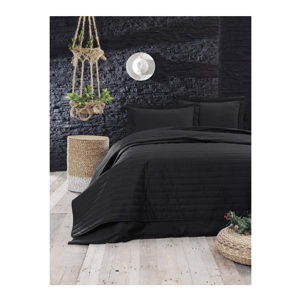 Czarna lekka pikowana narzuta Mijolnir Monart, 220x240 cm